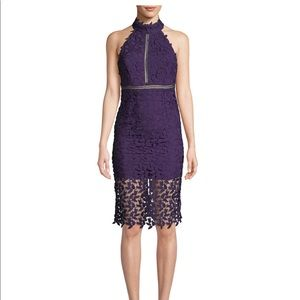 Bardot Gemma Purple Lace Halter Sheath Dress